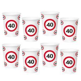 40-es Sebességkorlátozó Számos Szülinapi Papír Parti Pohár - 350 ml, 8 db-os