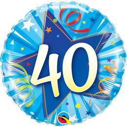 18 inch-es 40-es Shining Star Bright Blue Szülinapi Számos Fólia Lufi