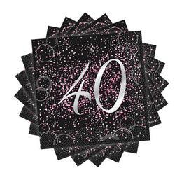 40-es Számos Pink Glitz Parti Szalvéta - 33 cm x 33 cm, 16 db-os