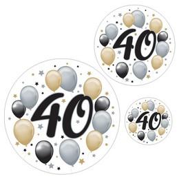 40-es Számos Szülinapi Elegáns Matrica Csomag