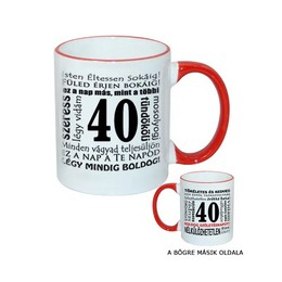 40-es Születésnapi Számos Egyedi Bögre