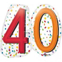 40-es Rainbow Birthday Szülinapi Számos Super Shape Fólia Lufi