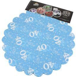 40-es Világoskék Szülinapi Kerek Dekorációs Textil - 48 cm-es, 24 db-os