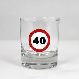 Sebességkorlátozó Szülinapi Whiskey-s Üvegpohár - 40-es