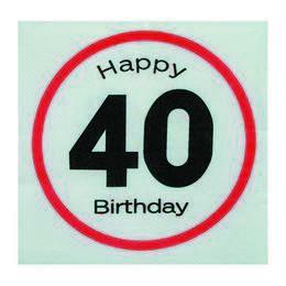 Happy Birthday 40-es Sebességkorlátozó Szülinapi Parti Szalvéta - 33 x 33 cm, 20 db