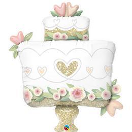 41 inch-es Glitter Gold Wedding Cake Esküvői Fólia Lufi