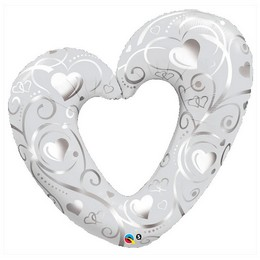 42 inch-es Hearts & Filigree Pearl White Fólia Lufi