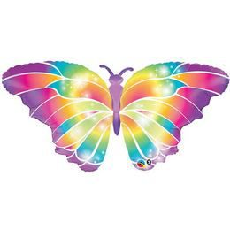 Szivárvány Színű Pillangós Héliumos Fólia Lufi, 112 cm