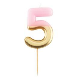 5-ös Pink Arany Színű Szülinapi Gyertya