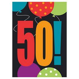 50-es Birthday Cheer Szülinapi Parti Meghívókártya és Boríték - 8 db-os