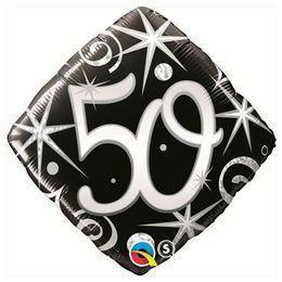 Elegáns Fekete 50-es Szülinapi Héliumos Fólia Lufi, 46 cm