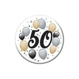 50-es Elegáns Léggömbös Szülinapi Kitűző