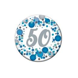 50-es Kék Pasztell Konfettis Kitűző