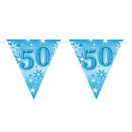 50-es Kék Sparkle Parti Zászlófüzér - 360 cm