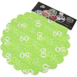 50-es Lime Zöld Szülinapi Kerek Dekorációs Textil - 48 cm-es, 24 db-os