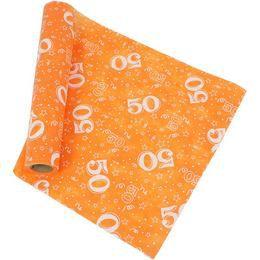 50-es Narancssárga Szülinapi Asztali Futó, 37 cm-es, 5 méter