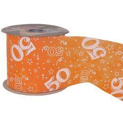 50-es Narancssárga Szülinapi Dekorációs Szalag, 12,5 cm, 50 méteres