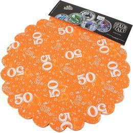 50-es Narancssárga Szülinapi Kerek Dekorációs Textil - 48 cm-es, 24 db-os