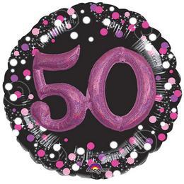 50-es Pink 3D Hatású Szülinapi Számos Héliumos Fólia Lufi, 81 cm