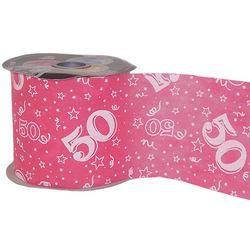50-es Pink Szülinapi Dekorációs Szalag, 12,5 cm, 50 méteres