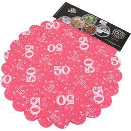 50-es Pink Szülinapi Kerek Dekorációs Textil - 48 cm-es, 24 db-os