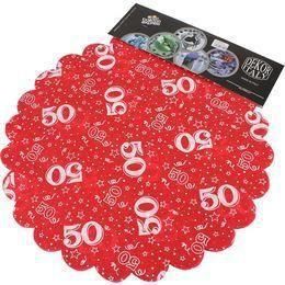 50-es Piros Szülinapi Kerek Dekorációs Textil - 48 cm-es, 24 db-os