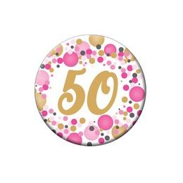 50-es Rózsaszín Pasztell Konfettis Kitűző