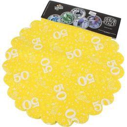 50-es Sárga Szülinapi Kerek Dekorációs Textil - 48 cm-es, 24 db-os