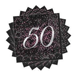 50-es Számos Pink Glitz Parti Szalvéta - 33 cm x 33 cm, 16 db-os