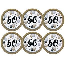 50-es Számos Szülinapi Elegáns Léggömbös Parti Papír Tányér, 23 cm-es, 6 db-os