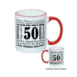 50-es Születésnapi Számos Egyedi Bögre