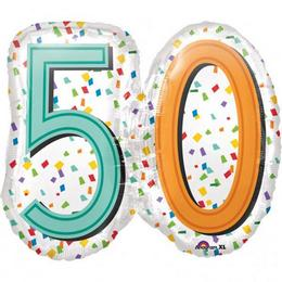 50-es Rainbow Birthday Szülinapi Számos Super Shape Fólia Lufi