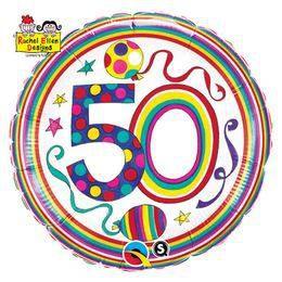 18 inch-es 50-es Számos Polka Dots and Stripes Szülinapi Héliumos Fólia Lufi