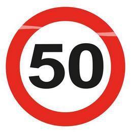 50-es Sebességkorlátozó Szülinapi Led-es Parti Kitűző