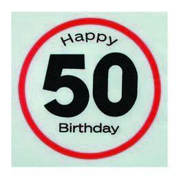 Happy Birthday 50-es Sebességkorlátozó Szülinapi Parti Szalvéta - 33 x 33 cm, 20 db-o
