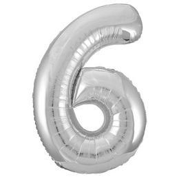 6-os Ezüst Szám Héliumos Fólia Lufi, 86 cm