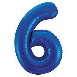 6-os Kék Számos Héliumos Fólia Lufi, 86 cm