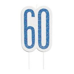 60-as Csillámos Kék Szülinapi Parti Számgyertya