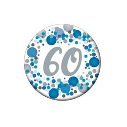 60-as Kék Pasztell Konfettis Kitűző
