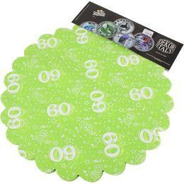 60-as Lime Zöld Szülinapi Kerek Dekorációs Textil - 48 cm-es, 24 db-os