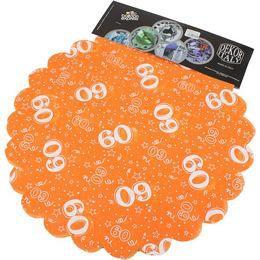 60-as Narancssárga Szülinapi Kerek Dekorációs Textil - 48 cm-es, 24 db-os