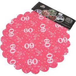 60-as Pink Szülinapi Kerek Dekorációs Textil - 48 cm-es, 24 db-os