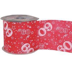 60-as Piros Szülinapi Dekorációs Szalag, 12,5 cm, 50 méteres