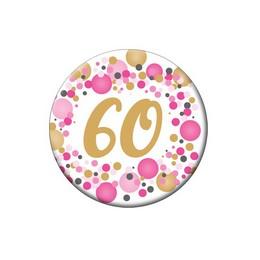 60-as Rózsaszín Pasztell Konfettis Kitűző