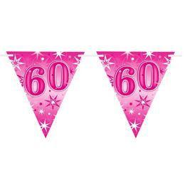 60-as Rózsaszín Sparkle Parti Zászlófüzér - 360 cm