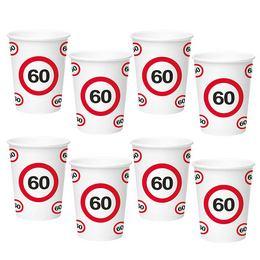 60-as Sebességkorlátozó Számos Szülinapi Papír Parti Pohár - 350 ml, 8 db-os