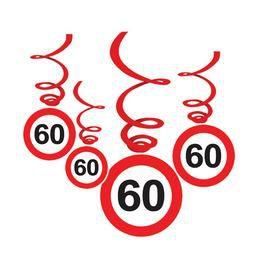60-as Sebességkorlátozó Születésnapi Függődekoráció - 6 db-os