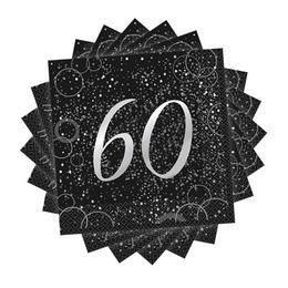 60-as Számos Szülinapi Ezüst Konfetti Mintás Fekete Szalvéta 16 db