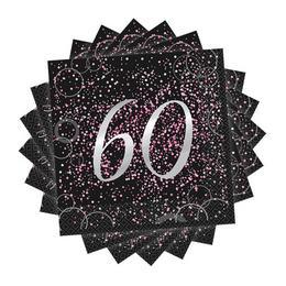 60-as Számos Szülinapi Pink Konfetti Mintás Fekete Szalvéta