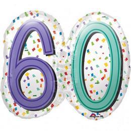 60-as Rainbow Birthday Szülinapi Számos Super Shape Fólia Lufi